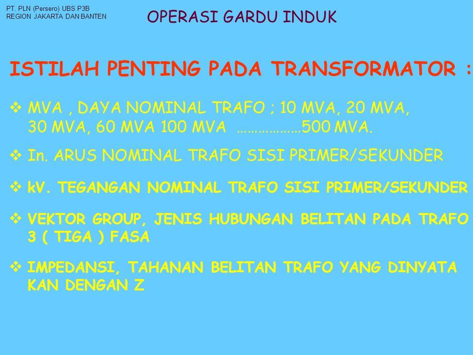 OPERASI GARDU INDUK ISTILAH PENTING PADA TRANSFORMATOR : PT. PLN (Persero) UBS P3B REGION JAKARTA DAN BANTEN  MVA, DAYA NOMINAL TRAFO ; 10 MVA, 20 MV