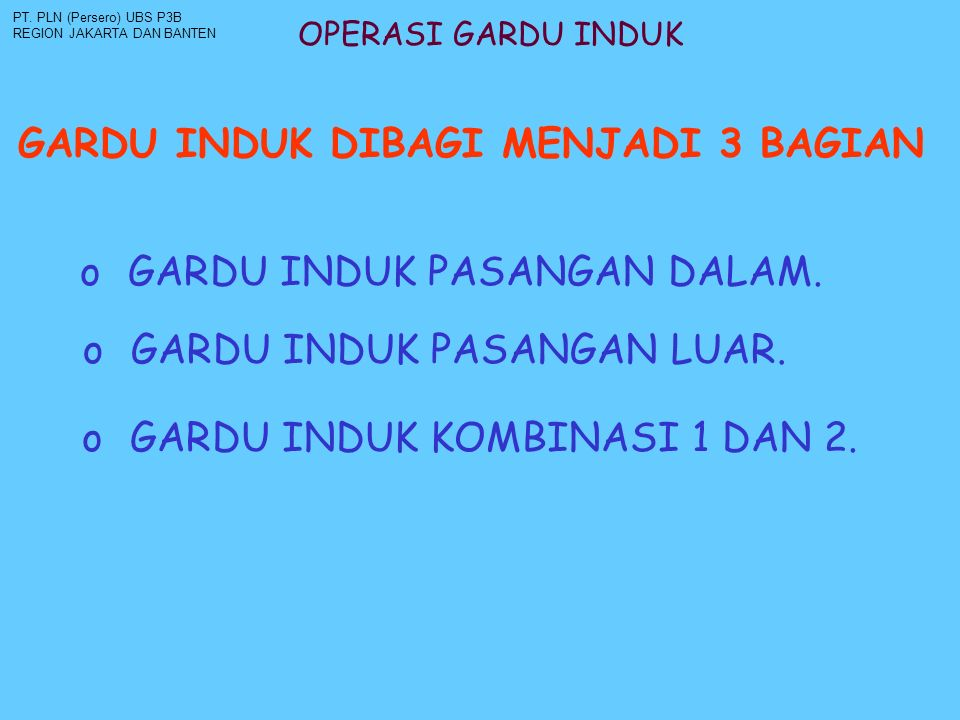 OPERASI GARDU INDUK PMS / PEMISAH : PT.