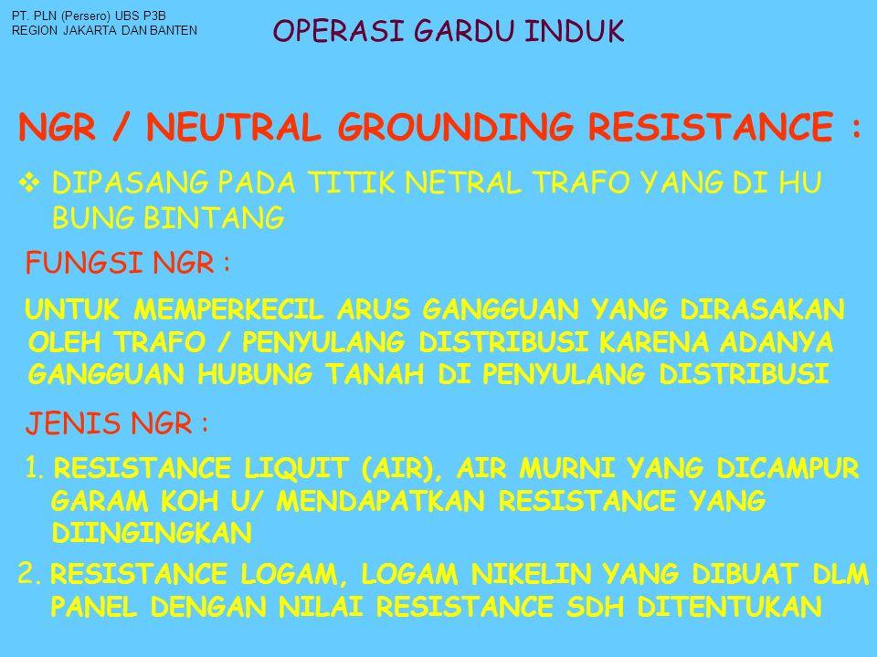 OPERASI GARDU INDUK NGR / NEUTRAL GROUNDING RESISTANCE : PT. PLN (Persero) UBS P3B REGION JAKARTA DAN BANTEN  DIPASANG PADA TITIK NETRAL TRAFO YANG D