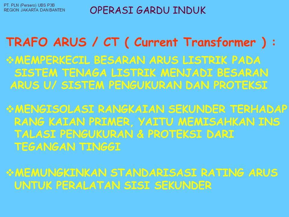 OPERASI GARDU INDUK TRAFO ARUS / CT ( Current Transformer ) : PT. PLN (Persero) UBS P3B REGION JAKARTA DAN BANTEN  MEMPERKECIL BESARAN ARUS LISTRIK P