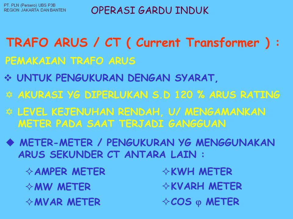 OPERASI GARDU INDUK TRAFO ARUS / CT ( Current Transformer ) : PT. PLN (Persero) UBS P3B REGION JAKARTA DAN BANTEN PEMAKAIAN TRAFO ARUS  UNTUK PENGUKU