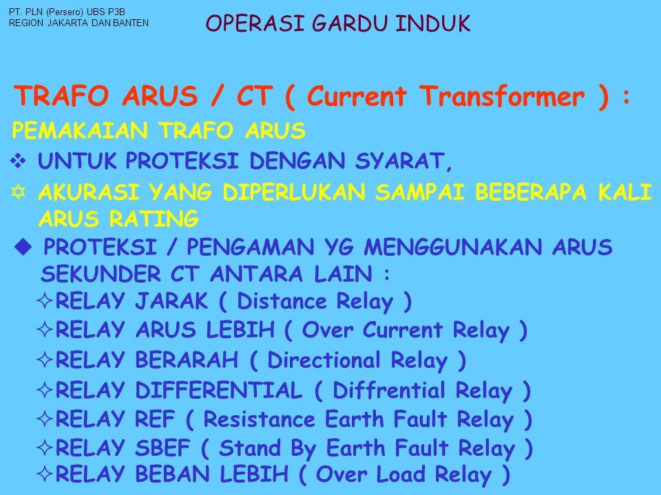 OPERASI GARDU INDUK TRAFO ARUS / CT ( Current Transformer ) : PT. PLN (Persero) UBS P3B REGION JAKARTA DAN BANTEN PEMAKAIAN TRAFO ARUS  UNTUK PROTEKS