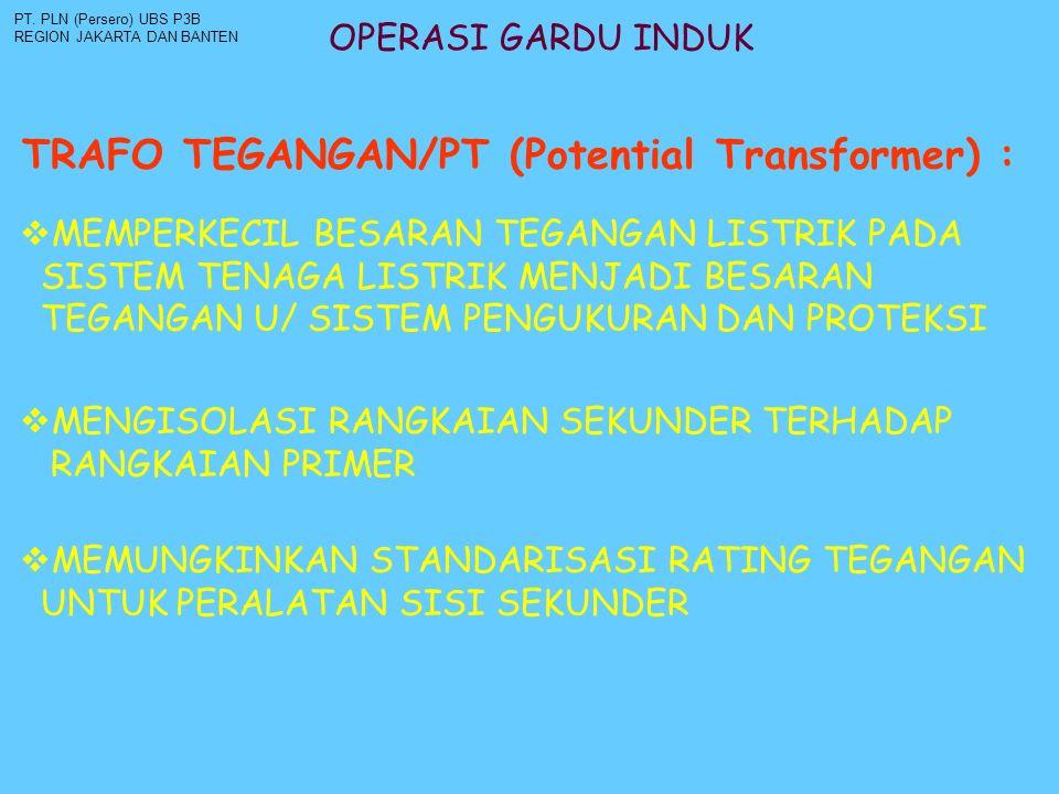 OPERASI GARDU INDUK TRAFO TEGANGAN/PT (Potential Transformer) : PT. PLN (Persero) UBS P3B REGION JAKARTA DAN BANTEN  MEMPERKECIL BESARAN TEGANGAN LIS