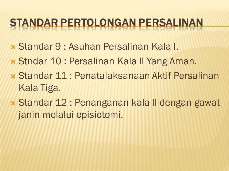  Standar 9 : Asuhan Persalinan Kala I.  Stndar 10 : Persalinan Kala II Yang Aman.