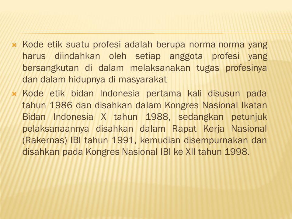  Kode etik suatu profesi adalah berupa norma-norma yang harus diindahkan oleh setiap anggota profesi yang bersangkutan di dalam melaksanakan tugas profesinya dan dalam hidupnya di masyarakat  Kode etik bidan Indonesia pertama kali disusun pada tahun 1986 dan disahkan dalam Kongres Nasional Ikatan Bidan Indonesia X tahun 1988, sedangkan petunjuk pelaksanaannya disahkan dalam Rapat Kerja Nasional (Rakernas) IBI tahun 1991, kemudian disempurnakan dan disahkan pada Kongres Nasional IBI ke XII tahun 1998.