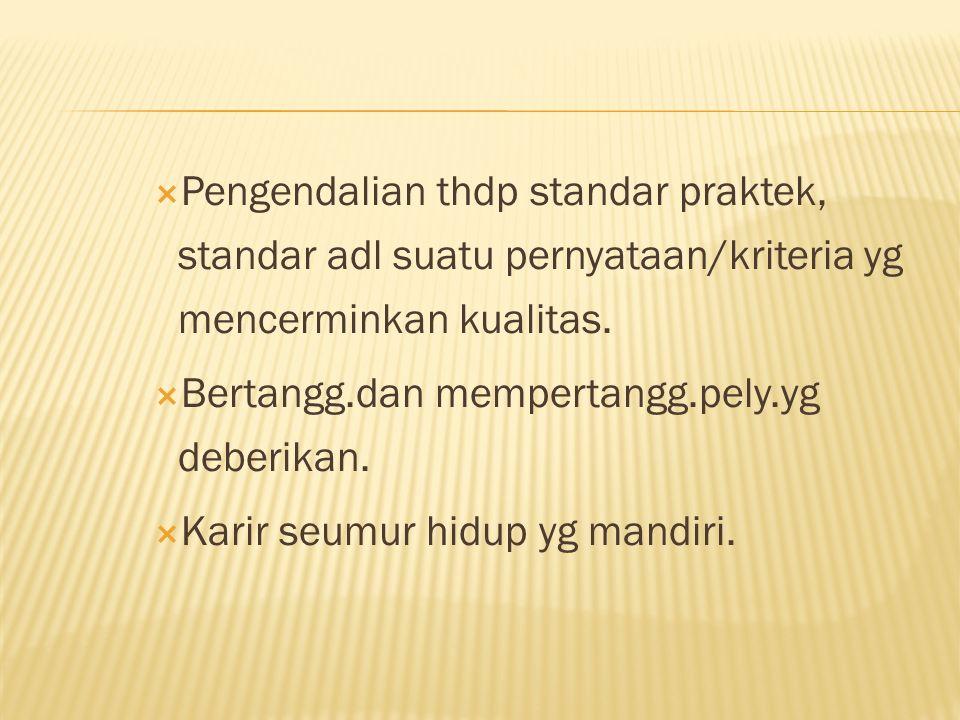 Pengendalian thdp standar praktek, standar adl suatu pernyataan/kriteria yg mencerminkan kualitas.