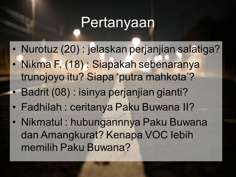 Pertanyaan Nurotuz (20) : jelaskan perjanjian salatiga.