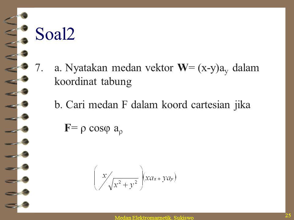 Medan Elektromagnetik. Sukiswo 24 Soal2 6. a. Nyatakan T=240+z 2 -2xy dalam koordinat tabung b. Cari kerapatan di titik P(-2,-5,1) jika kerapatannya 2