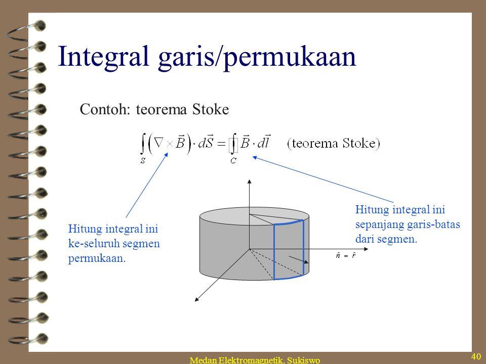 Medan Elektromagnetik. Sukiswo 39 Teorema integral Hubungan ini berguna untuk mengubah integral volume menjadi integral permukaan. Yang ini berguna un