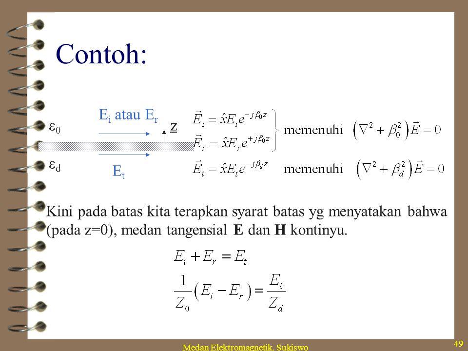 Medan Elektromagnetik. Sukiswo 48 Dan satu contoh lagi n 111111 222222 H t2 H t1 n × (H 1 -H 2 ) = J s Hal ini menyatakan bahwa medan magn