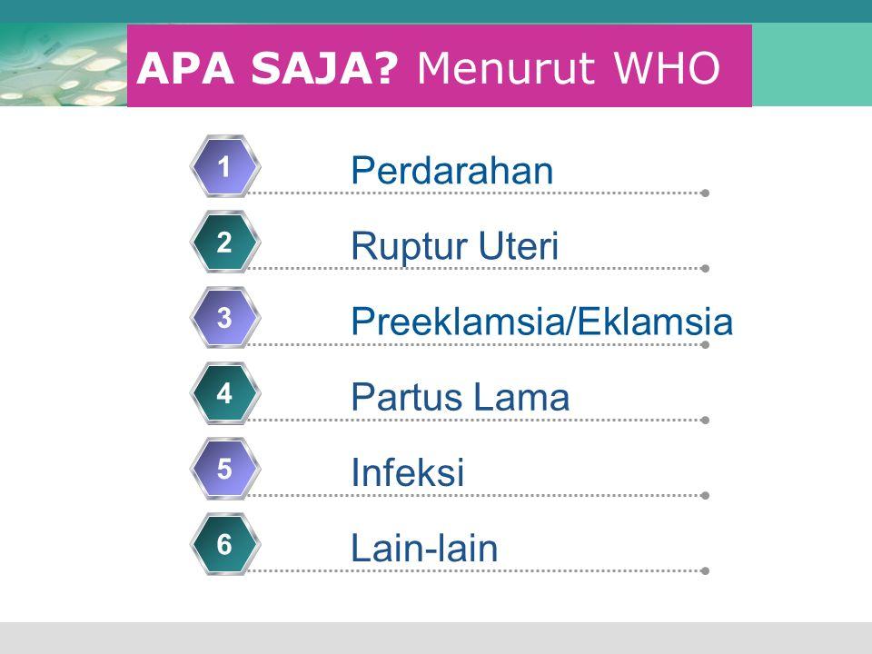 APA SAJA? Menurut WHO Perdarahan 1 Ruptur Uteri 2 Preeklamsia/Eklamsia 3 Partus Lama 4 Infeksi 5 Lain-lain 6