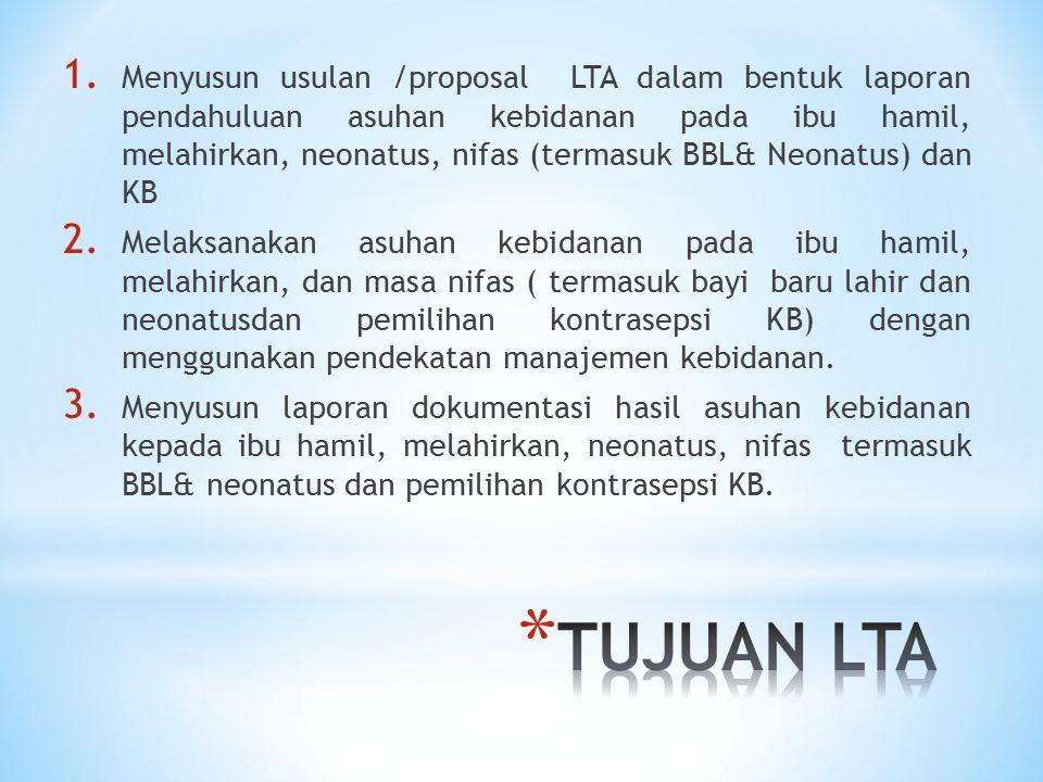 1. Menyusun usulan /proposal LTA dalam bentuk laporan pendahuluan asuhan kebidanan pada ibu hamil, melahirkan, neonatus, nifas (termasuk BBL& Neonatus