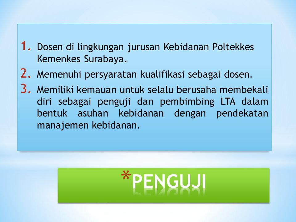1. Dosen di lingkungan jurusan Kebidanan Poltekkes Kemenkes Surabaya. 2. Memenuhi persyaratan kualifikasi sebagai dosen. 3. Memiliki kemauan untuk sel