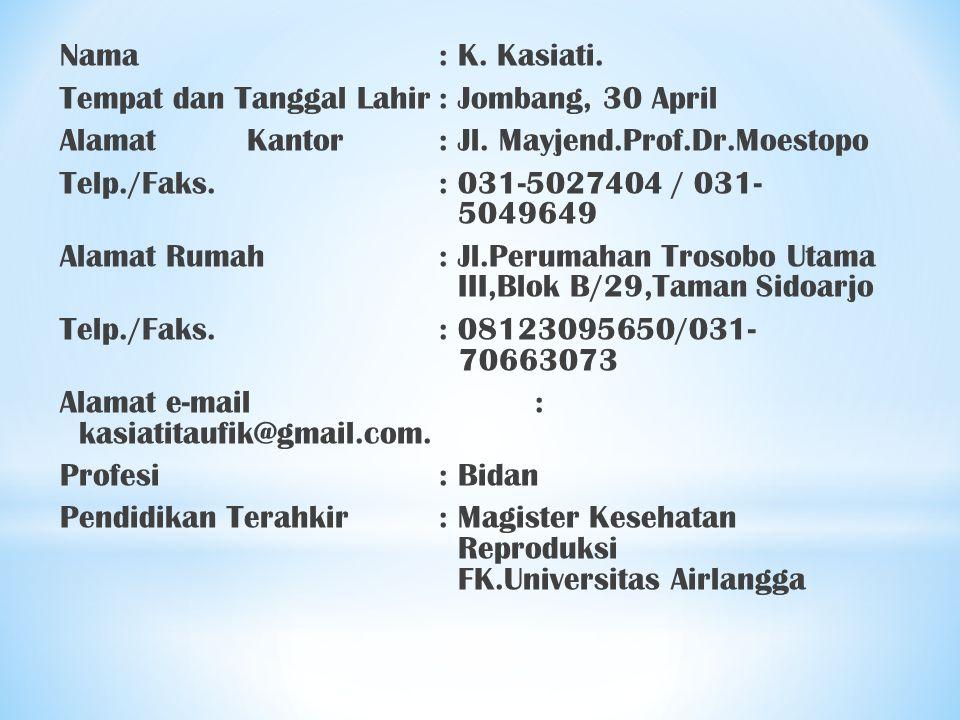 Nama: K. Kasiati. Tempat dan Tanggal Lahir: Jombang, 30 April AlamatKantor : Jl. Mayjend.Prof.Dr.Moestopo Telp./Faks.: 031-5027404 / 031- 5049649 Alam