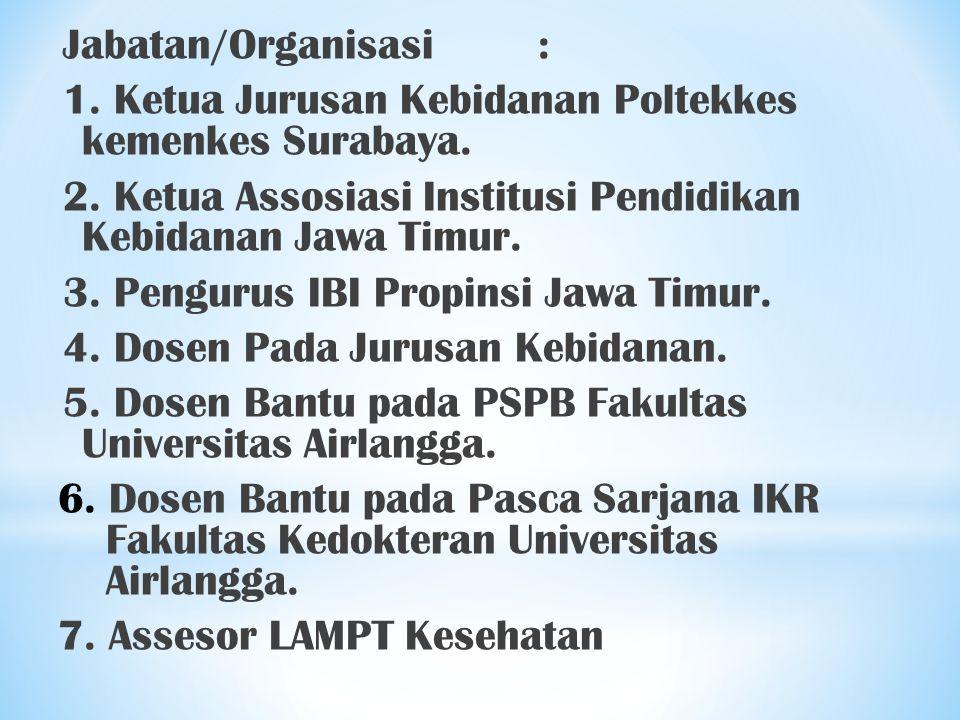 Jabatan/Organisasi: 1. Ketua Jurusan Kebidanan Poltekkes kemenkes Surabaya. 2. Ketua Assosiasi Institusi Pendidikan Kebidanan Jawa Timur. 3. Pengurus