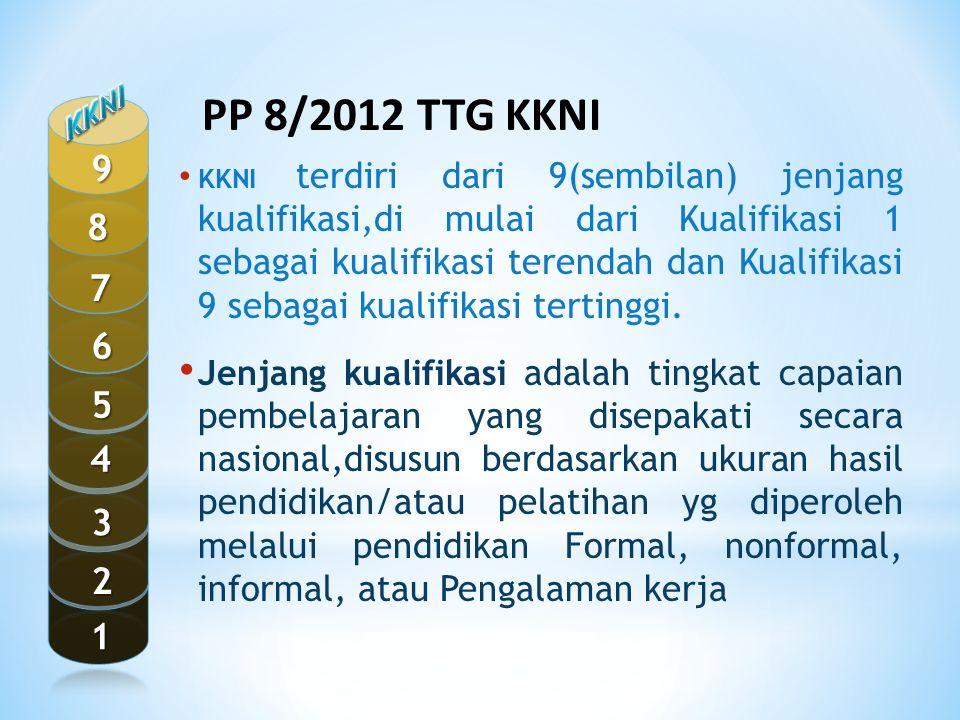 KKNI terdiri dari 9(sembilan) jenjang kualifikasi,di mulai dari Kualifikasi 1 sebagai kualifikasi terendah dan Kualifikasi 9 sebagai kualifikasi terti