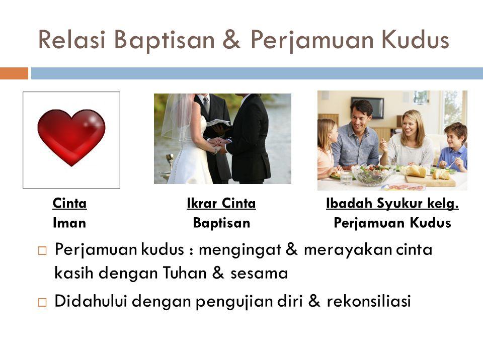 Relasi Baptisan & Perjamuan Kudus  Perjamuan kudus : mengingat & merayakan cinta kasih dengan Tuhan & sesama  Didahului dengan pengujian diri & reko