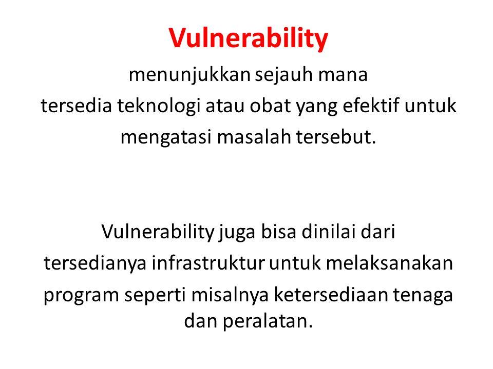 Vulnerability menunjukkan sejauh mana tersedia teknologi atau obat yang efektif untuk mengatasi masalah tersebut. Vulnerability juga bisa dinilai dari