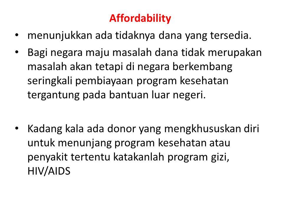 Affordability menunjukkan ada tidaknya dana yang tersedia. Bagi negara maju masalah dana tidak merupakan masalah akan tetapi di negara berkembang seri