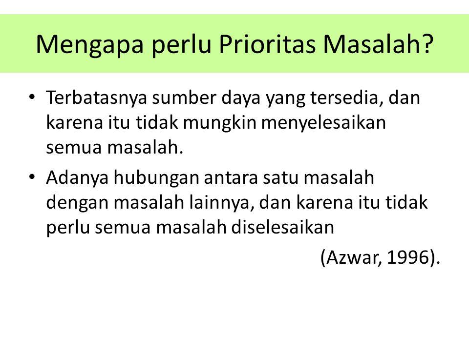 Mengapa perlu Prioritas Masalah? Terbatasnya sumber daya yang tersedia, dan karena itu tidak mungkin menyelesaikan semua masalah. Adanya hubungan anta