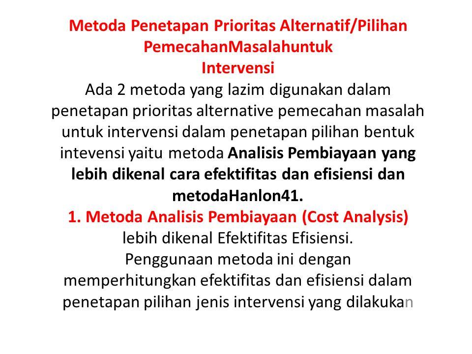 Metoda Penetapan Prioritas Alternatif/Pilihan PemecahanMasalahuntuk Intervensi Ada 2 metoda yang lazim digunakan dalam penetapan prioritas alternative