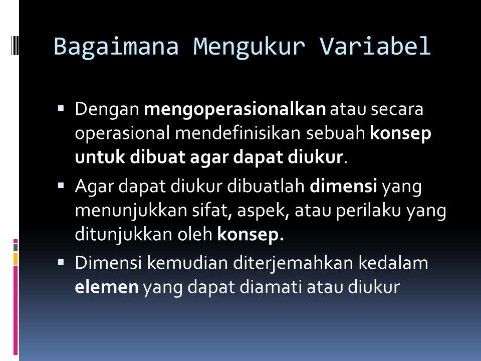Bagaimana Mengukur Variabel  Variabel yang dapat diukur secara objektif  Misal: lama bekerja, penghasilan, dll  Variabel yang samar-samar dan mungk