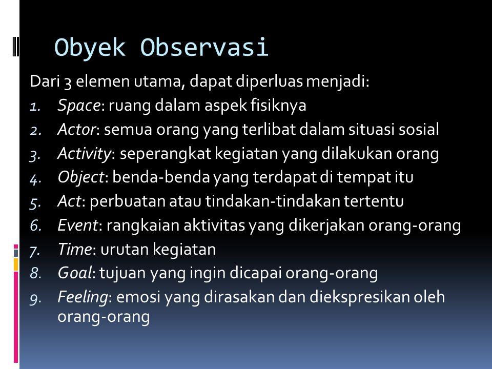 Obyek Observasi Tiga elemen utama, yaitu 1. Place, atau tempat di mana interaksi dalam situasi sosial sedang berlangsung 2. Actor, pelaku atau orang-o