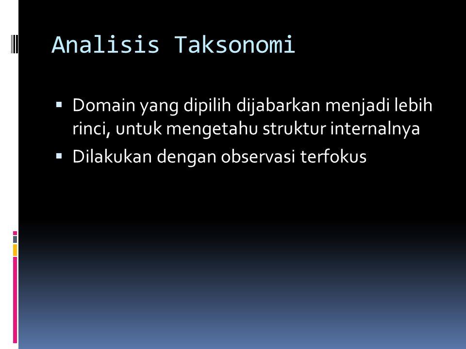 Analisis Domain  Memperolah gambaran umum dan menyeluruh dari obyek/penelitian atau situasi sosial.  Ditemukan berbagai domain atau kategori  Diper