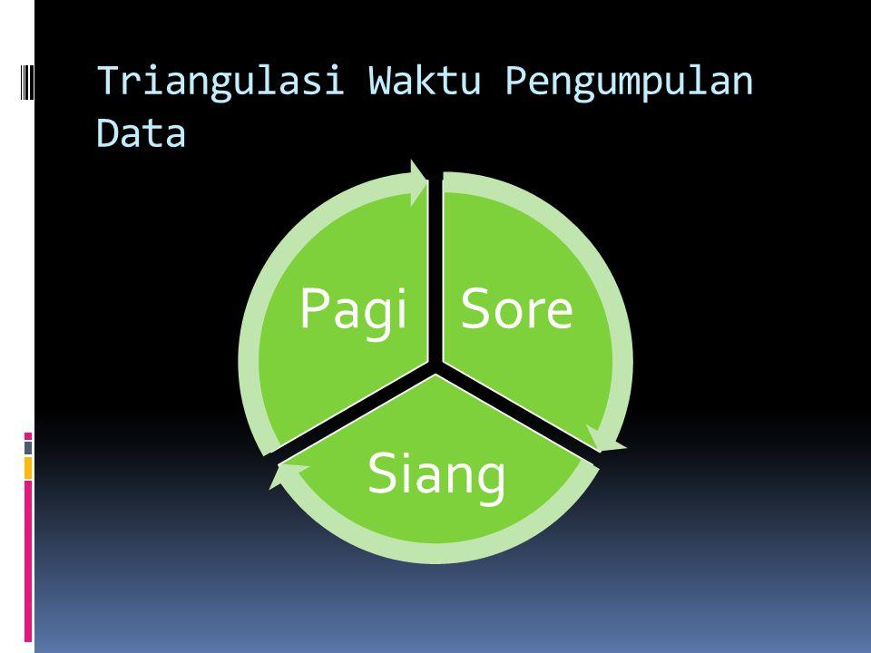 Trianglulasi Tehnik Pegumpulan Data Wawancara Observasi Kuesioner/ Dokumen