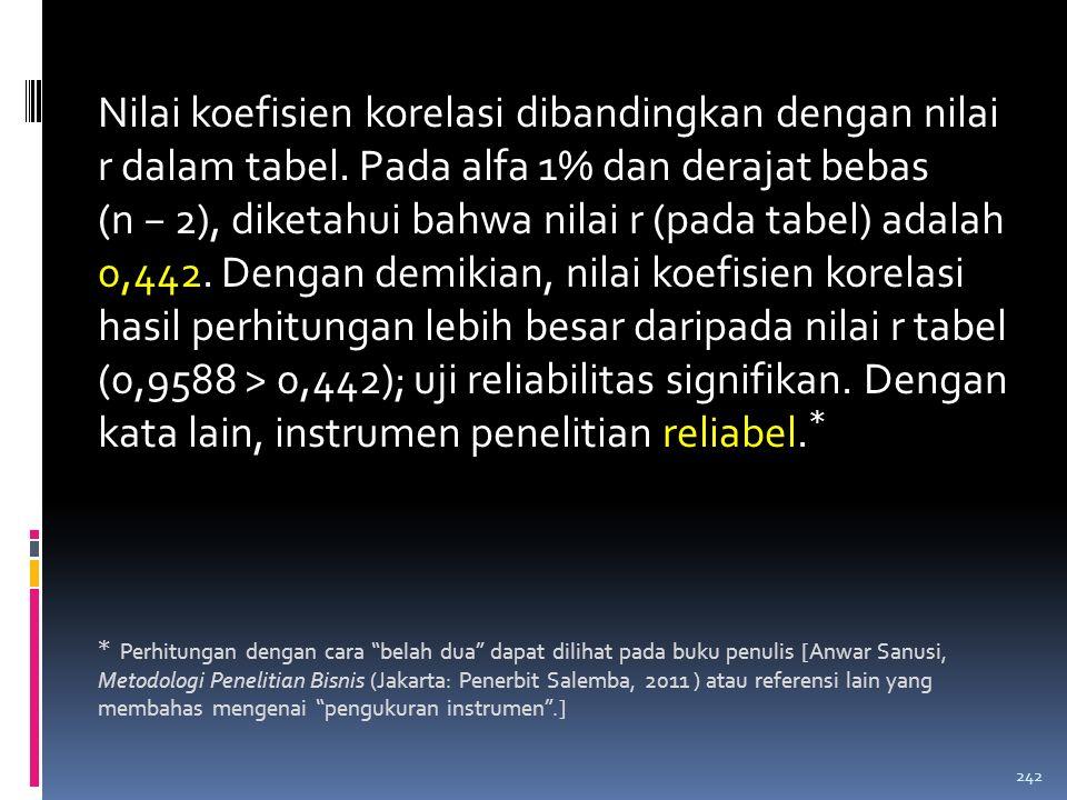Tabel: (lanjutan) Perhitungan Reliabilitas dengan Cara Pengukuran Ulang 241 RespondenXYX2X2 Y2Y2 XY 2364654.0964.2254.160 2460643.6004.0963.840 257370