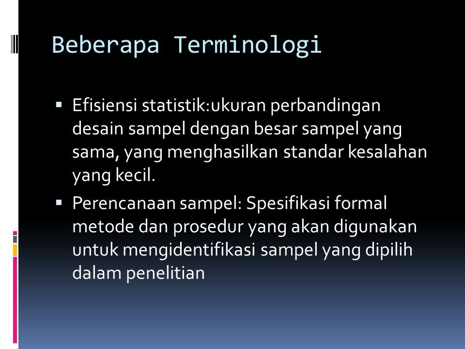 Beberapa Terminologi  Sampel: Himpunan bagian (subset) dari unit populasi  Parameter: Ringkasan Variabel dala populasi  Statistik: Ringkasan dalam