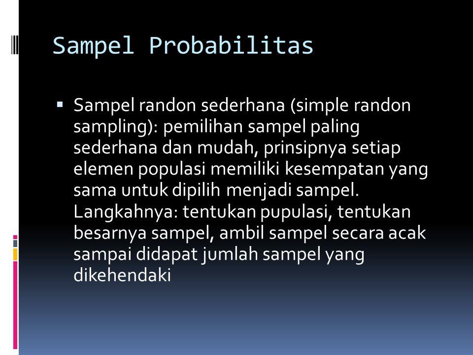 Desain Sampel  Desain probabilitas: setiap sampel dipilih berdasarkan prosedur seleksi dan memiliki peluang yang sama untuk dipilih.  Desain nonprob