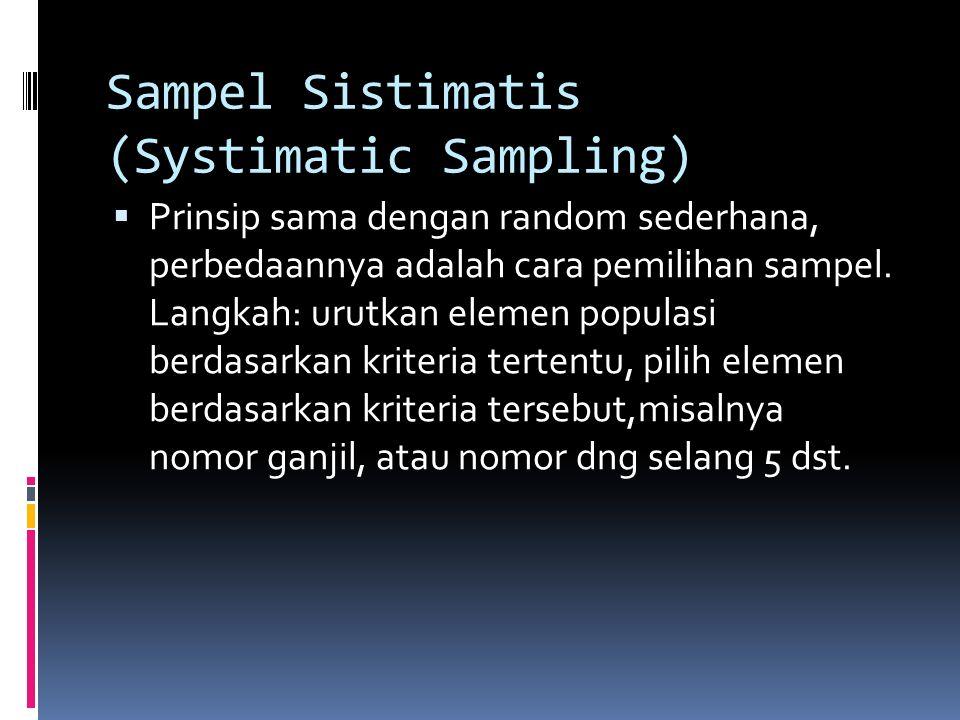 Sampel Probabilitas  Sampel randon sederhana (simple randon sampling): pemilihan sampel paling sederhana dan mudah, prinsipnya setiap elemen populasi