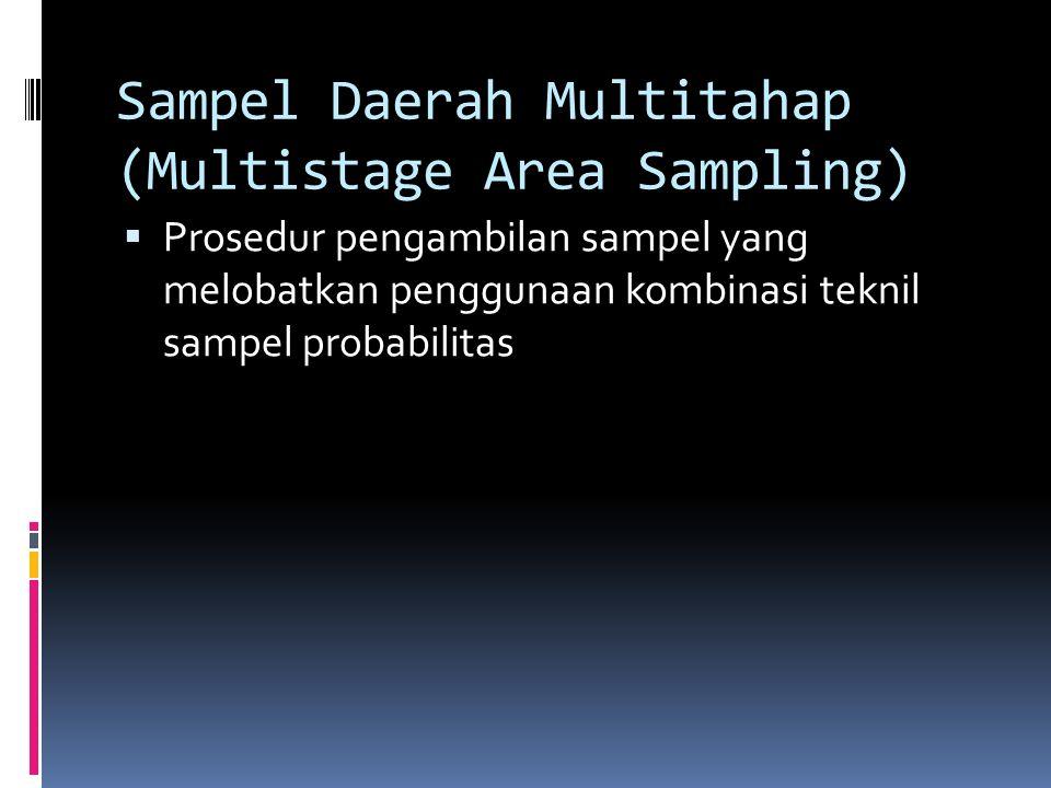 Sampel Kluster (Cluster Sampling)  Peneliti membagi populasi menjadi beberapa subkelompok berdasar kriteria yang sederhana atau yang tersedia dalam d