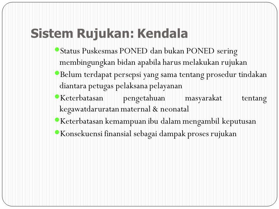 Sistem Rujukan: Kendala Status Puskesmas PONED dan bukan PONED sering membingungkan bidan apabila harus melakukan rujukan Belum terdapat persepsi yang