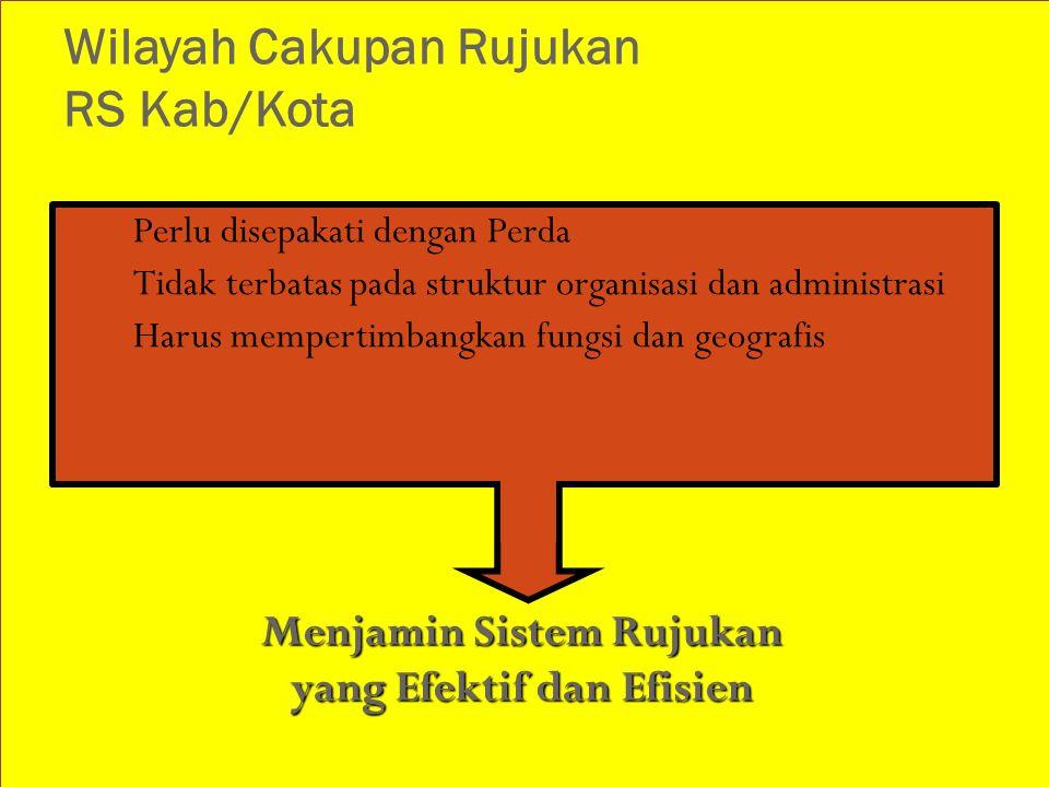 Wilayah Cakupan Rujukan RS Kab/Kota 1. Perlu disepakati dengan Perda 2. Tidak terbatas pada struktur organisasi dan administrasi 3. Harus mempertimban