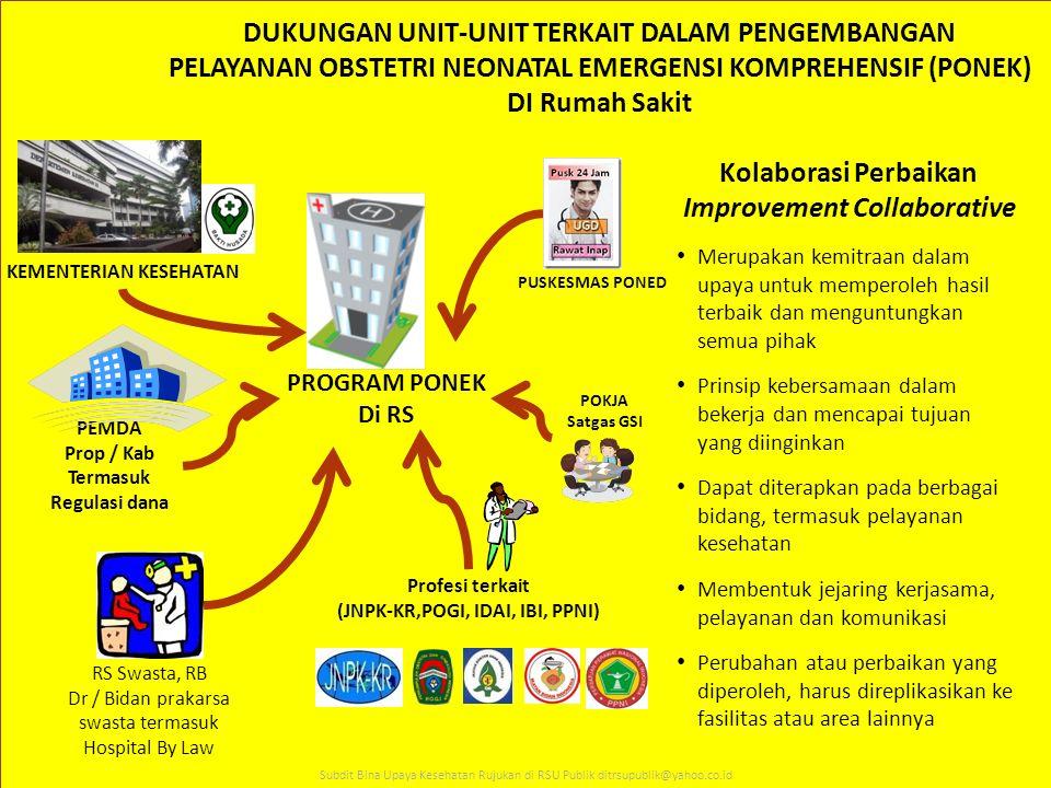 PROGRAM PONEK Di RS PEMDA Prop / Kab Termasuk Regulasi dana RS Swasta, RB Dr / Bidan prakarsa swasta termasuk Hospital By Law POKJA Satgas GSI KEMENTE