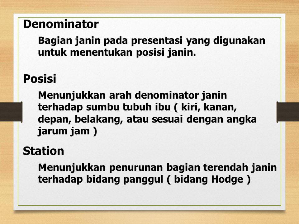 Denominator Bagian janin pada presentasi yang digunakan untuk menentukan posisi janin.