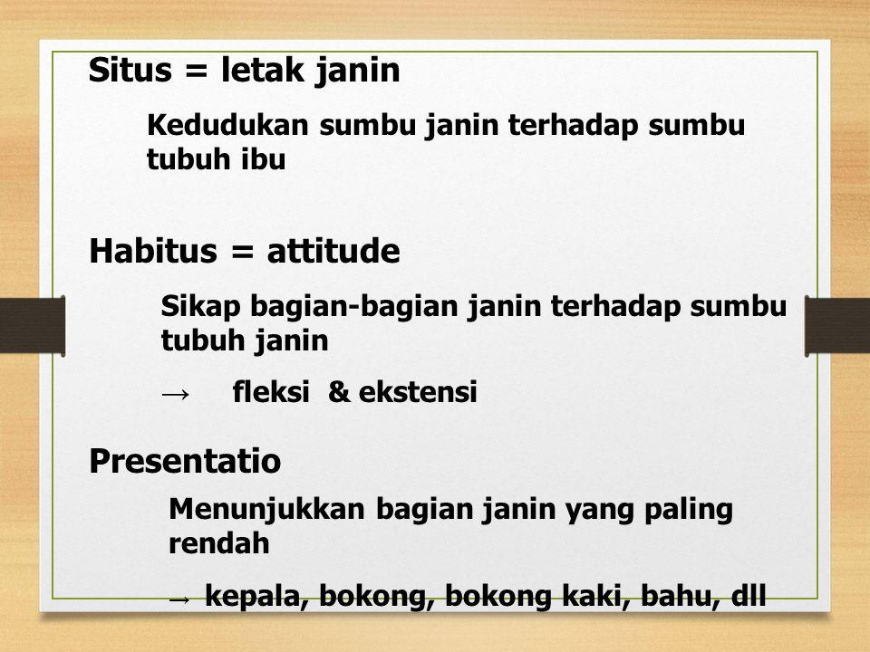 Situs = letak janin Kedudukan sumbu janin terhadap sumbu tubuh ibu Habitus = attitude Sikap bagian-bagian janin terhadap sumbu tubuh janin → fleksi &