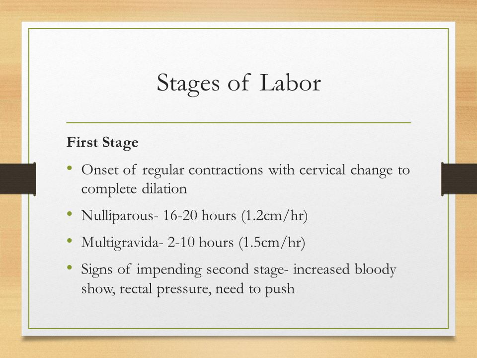 Stages of Labor First Stage Onset of regular contractions with cervical change to complete dilation Nulliparous- 16-20 hours (1.2cm/hr) Multigravida- 2-10 hours (1.5cm/hr) Signs of impending second stage- increased bloody show, rectal pressure, need to push