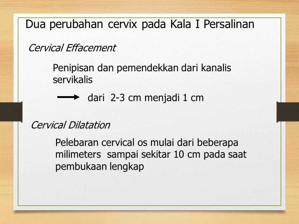 Dua perubahan cervix pada Kala I Persalinan Cervical Effacement Penipisan dan pemendekkan dari kanalis servikalis dari 2-3 cm menjadi 1 cm Cervical Dilatation Pelebaran cervical os mulai dari beberapa milimeters sampai sekitar 10 cm pada saat pembukaan lengkap