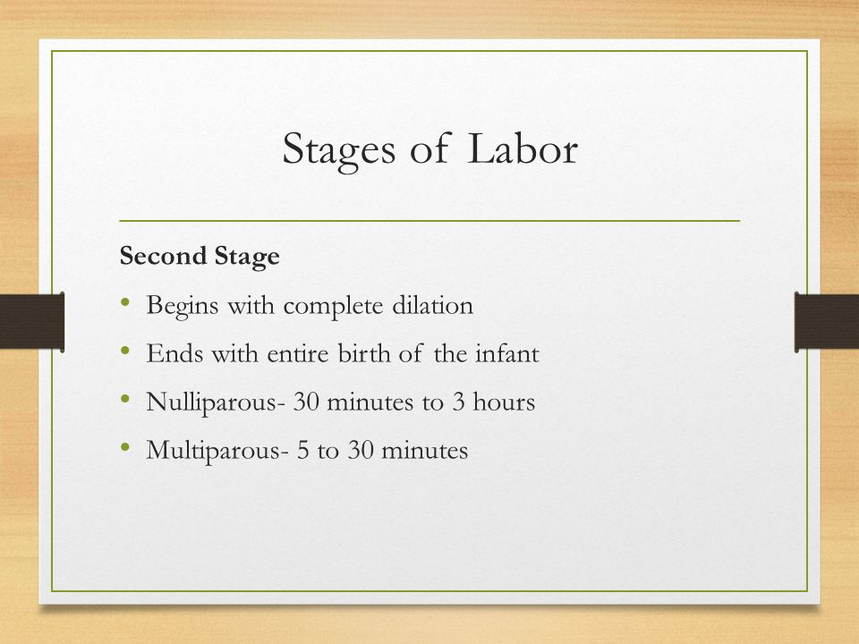 Stages of Labor Second Stage Begins with complete dilation Ends with entire birth of the infant Nulliparous- 30 minutes to 3 hours Multiparous- 5 to 30 minutes