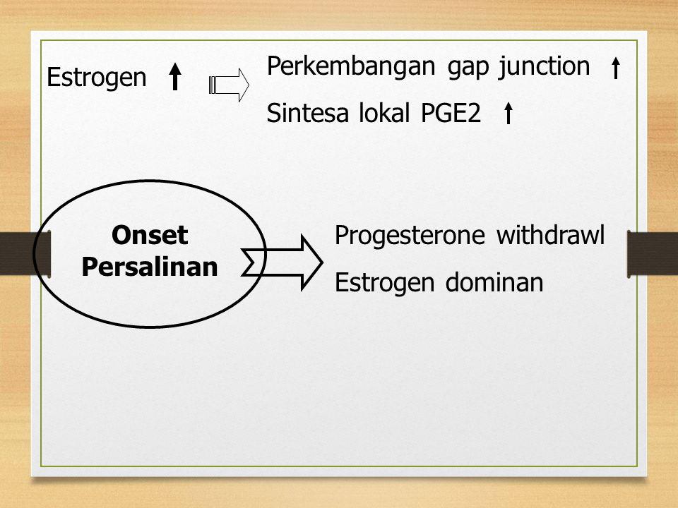 Estrogen Perkembangan gap junction Sintesa lokal PGE2 Onset Persalinan Progesterone withdrawl Estrogen dominan