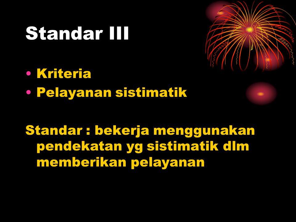 Standar II Kriteria 1. pelay aman 2. sikap profesional 3. hak-hak klien