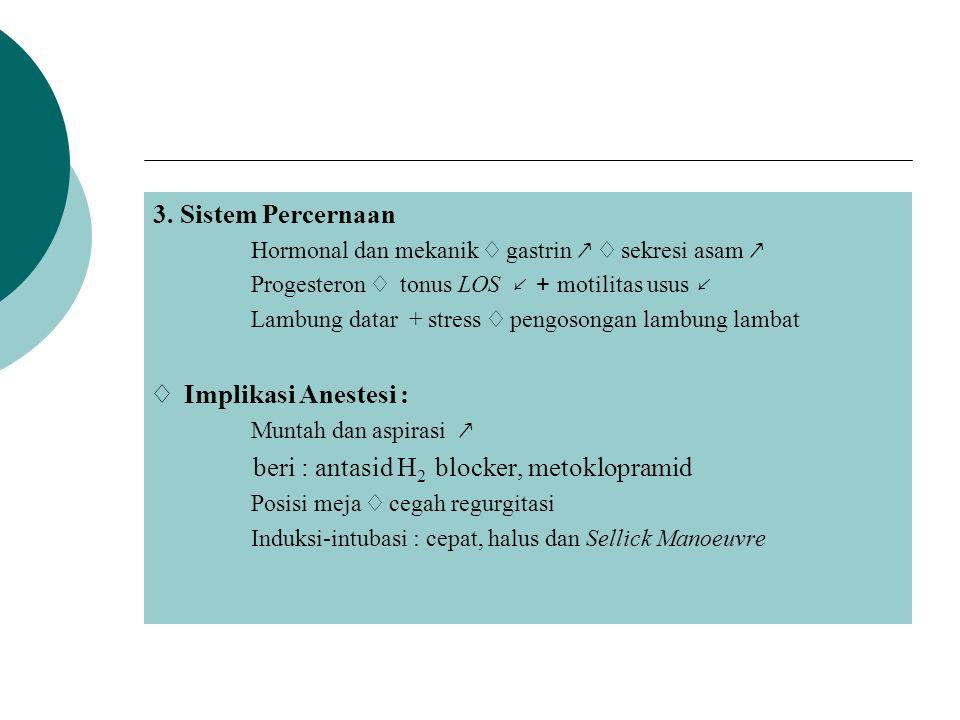 3. Sistem Percernaan Hormonal dan mekanik ♢ gastrin ↗ ♢ sekresi asam ↗ Progesteron ♢ tonus LOS ↙ + motilitas usus ↙ Lambung datar + stress ♢ pengosong