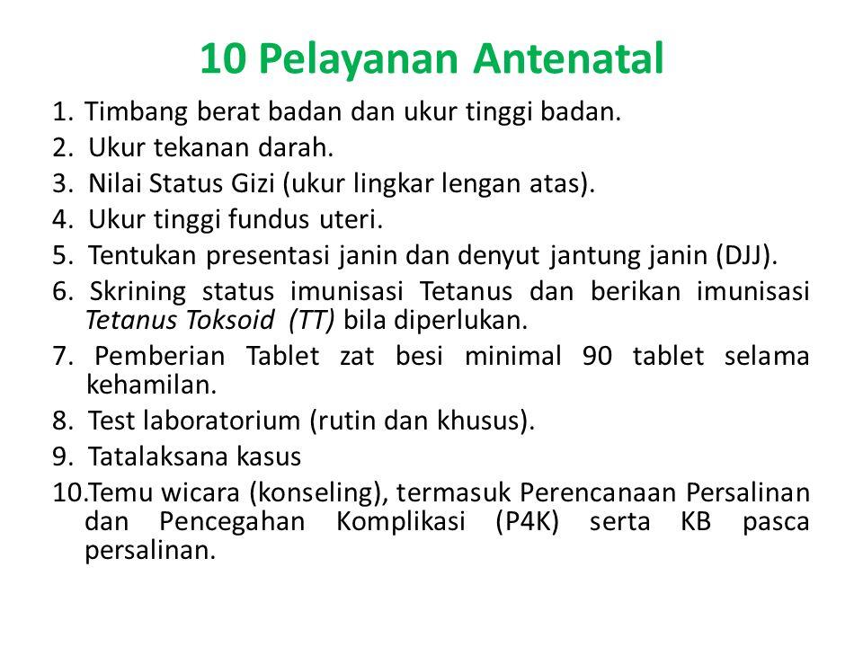 10 Pelayanan Antenatal 1.Timbang berat badan dan ukur tinggi badan.