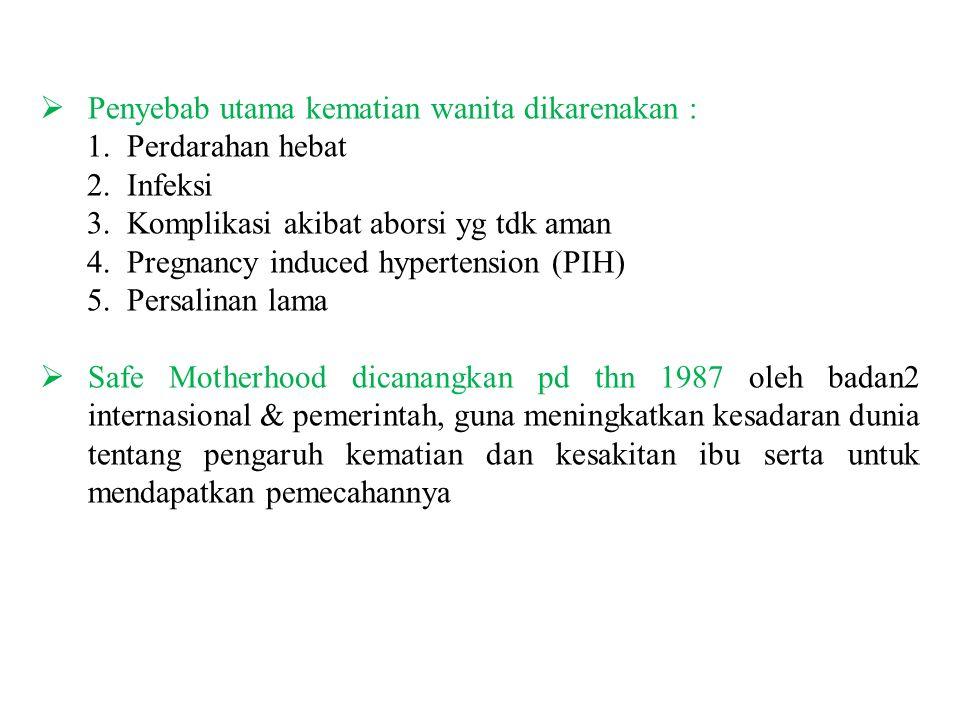  Penyebab utama kematian wanita dikarenakan : 1. Perdarahan hebat 2.