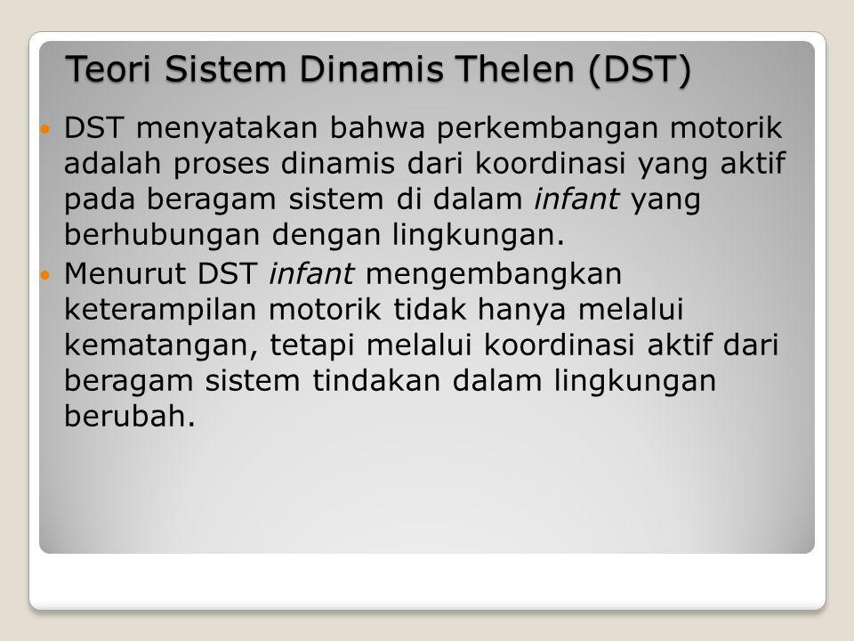 Teori Sistem Dinamis Thelen (DST) DST menyatakan bahwa perkembangan motorik adalah proses dinamis dari koordinasi yang aktif pada beragam sistem di dalam infant yang berhubungan dengan lingkungan.