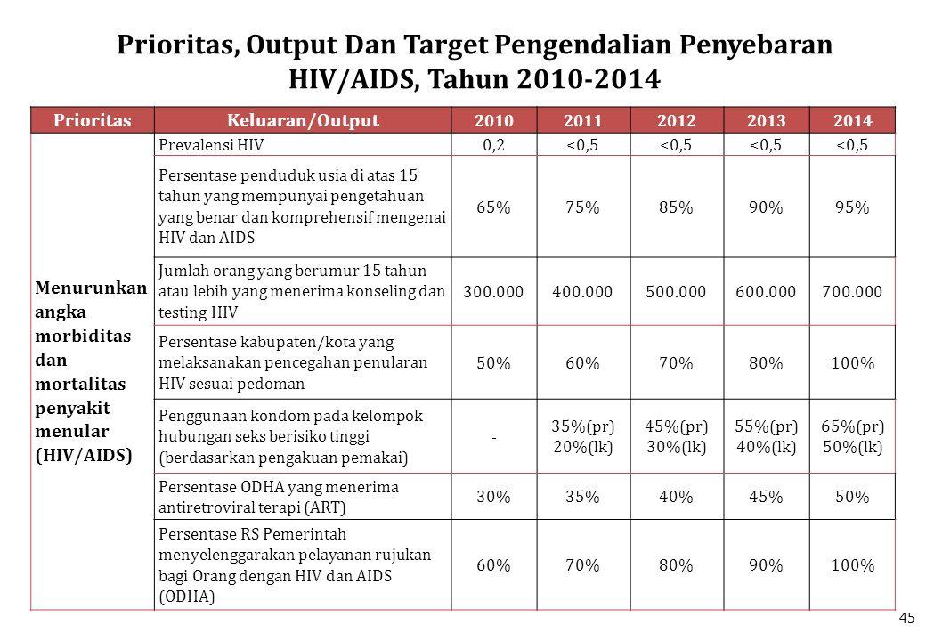 PrioritasKeluaran/Output 20102011201220132014 Menurunkan angka morbiditas dan mortalitas penyakit menular (HIV/AIDS) Prevalensi HIV0,2<0,5 Persentase