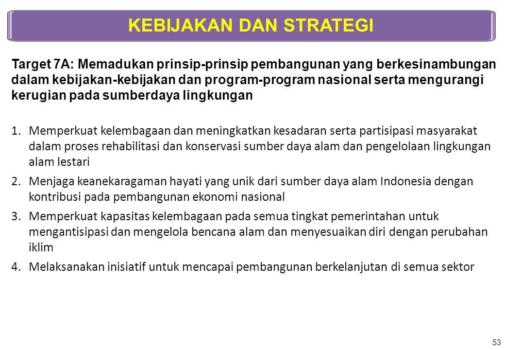 KEBIJAKAN DAN STRATEGI Target 7A: Memadukan prinsip-prinsip pembangunan yang berkesinambungan dalam kebijakan-kebijakan dan program-program nasional s
